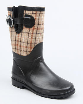 Apple Bottoms - Apple Buckle Plaid Trim Rainboot