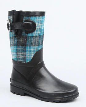 Apple Bottoms - Apple Buckle Plaid Trim Rain boot