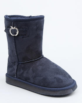 Apple Bottoms - Buckle Trim Faux Fur Logo Bootie