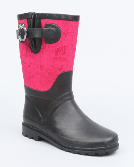 Apple Bottoms Girls Pink Apple Buckle Color Trim Rainboot