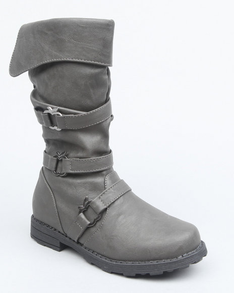Apple Bottoms Girls Grey Apple Cutout Ruched Foldover Boot