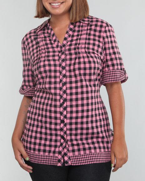 Mecca Femme Women Black,Pink Plaid Large Shirt