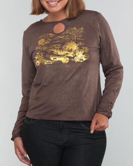 Mecca Femme Women Copper Lurex Knit Top W/Logo