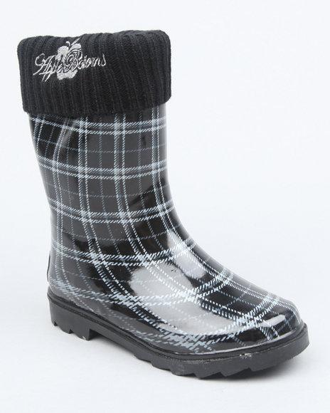 Apple Bottoms Girls Black Fleece Insulated Harness Logo Plaid Rainboot