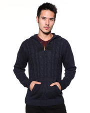 DJP OUTLET - Mixed - Yarn Cable - Front Hooded Sweater