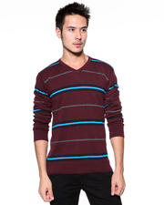 DJP OUTLET - 12GG All Over Striped Pullover V-Neck Sweater