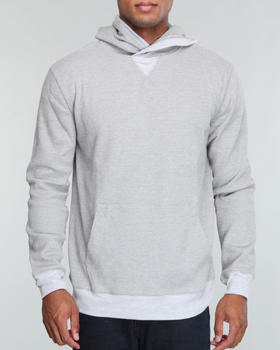 Buyers Picks - Waffle thermal hooded pull over  w/ melange trim