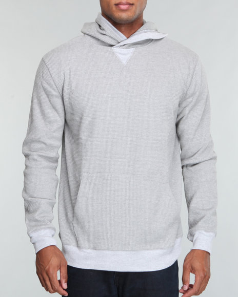 Buyers Picks Men Grey Waffle Thermal Hooded Pull Over  W/ Melange Trim