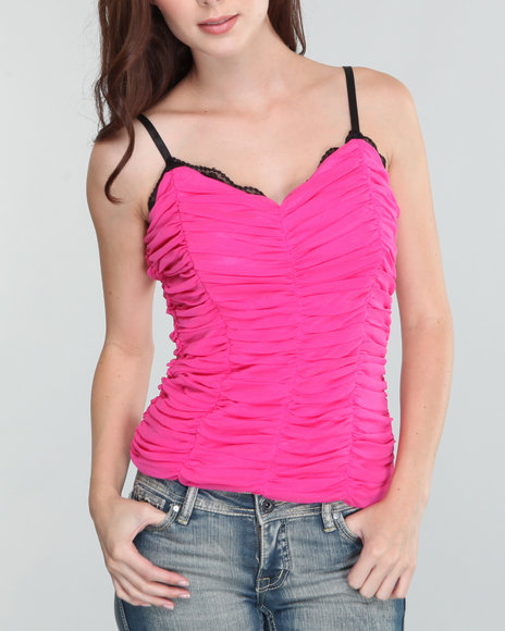 Baby Phat Women Pink Rouched Mesh Cami