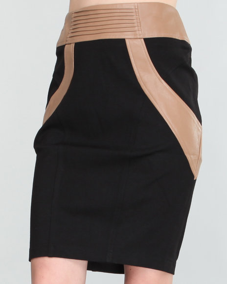 Baby Phat Women Black Colorblocked Pencil Skirt