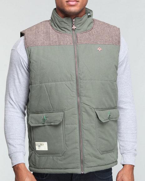 LRG Men Olive Rockwood Puffy Cotton/Nylon Vest