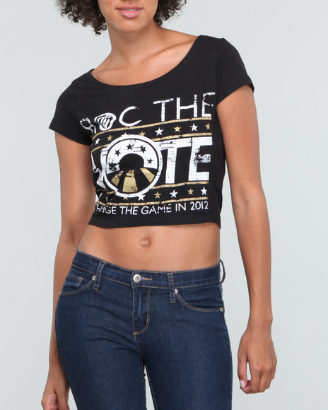 Rocawear Women Black Roc The Vote Graphic S/S Tee
