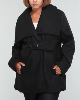 Fashion Lab - Park wool coat w/oversized colar belt (plus)
