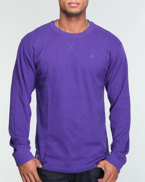 Akademiks Men Purple Brick City L/S Crew Thermal