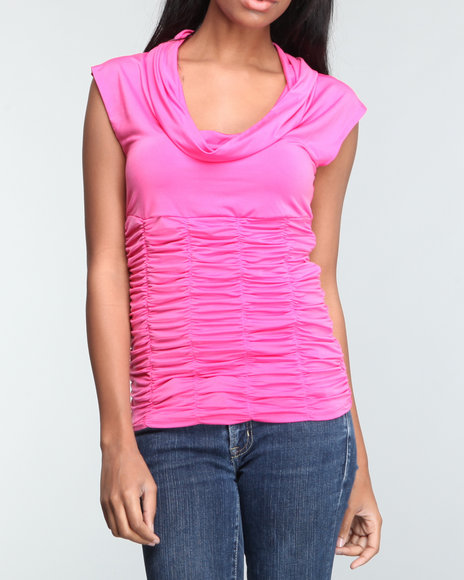 Baby Phat Women Pink Rouched Cowl Neck Top