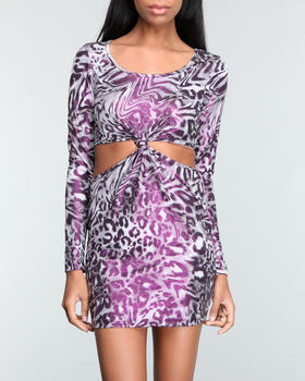 Fashion Lab - Geo long sleeves cutway knotted mini dress
