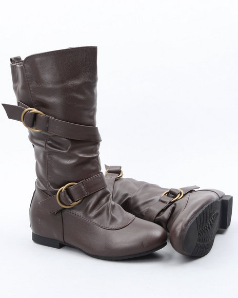 La Galleria Girls Brown Basic Boot W/Buckle