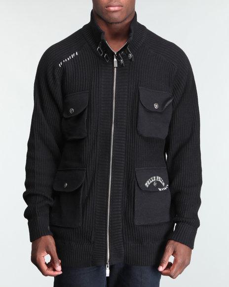 Pelle Pelle Men Black Bellow Pocket Zip Front Sweater