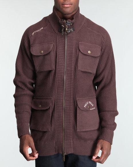 Pelle Pelle Men Brown Bellow Pocket Zip Front Sweater