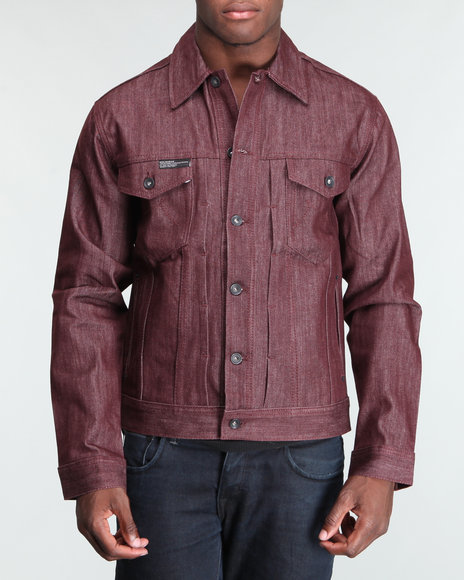Rocawear Men Maroon Bleek Denim Jacket