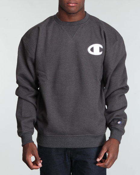 Champion Men Charcoal Champion Super Crew Neck Sweatshirt W/ Midsize Raised C Logo