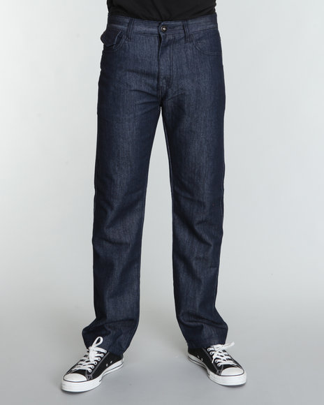 Mo7 Men Rinsed Pu Trim Pack Pocket Denim Jeans Dark Indigo 36x32