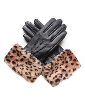 DJP Boutique - Black leather gloves with faux animal print trim
