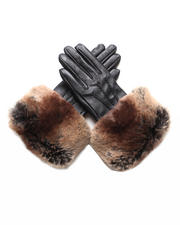 DJP Boutique - Brown leather gloves with faux chinchilla trim