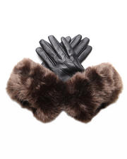 DJP Boutique - Black leather gloves with faux fox trim