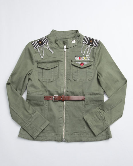Mecca Girls Girls Green Soldier Long Sleeve Jacket (7-16)