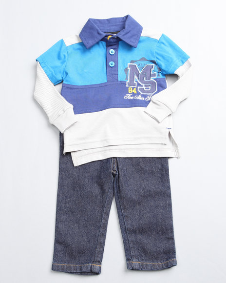 Mecca Boys Navy 2 Piece Top And Jean Set