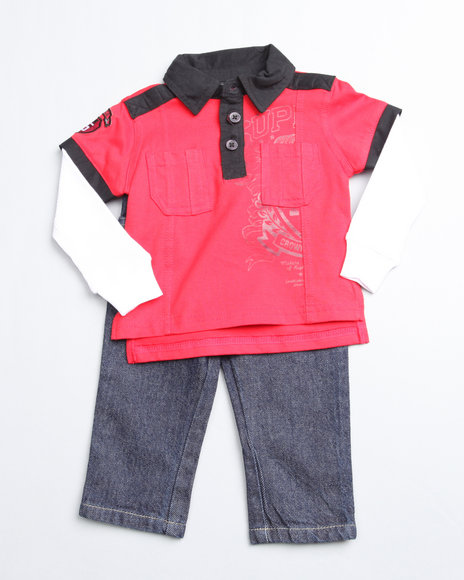Mecca Boys Red 2 Piece Top N Jean (Newborn)