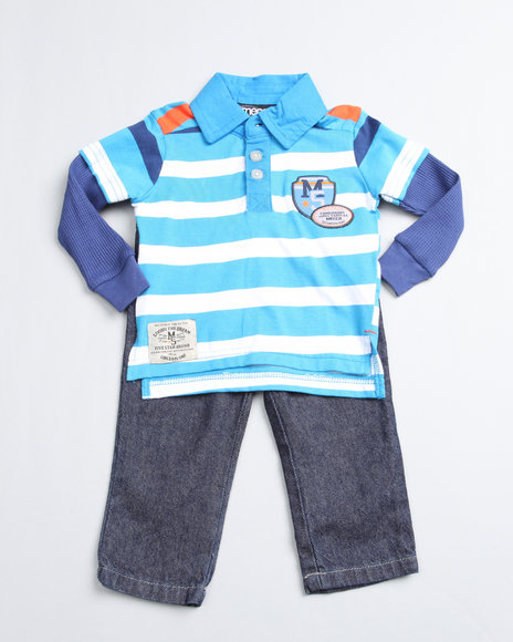 Mecca Boys Blue 2 Piece Top And Jean Set