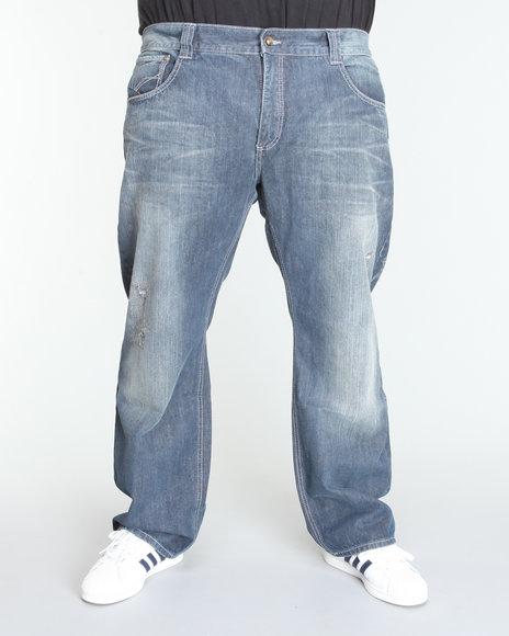 Pelle Pelle Men Light Wash Pelle Distressed Denim Jeans