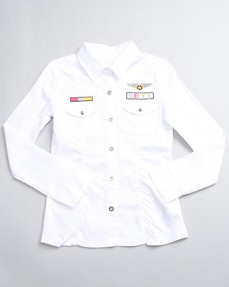 Mecca Girls Girls White Upgrade U Long Sleeve Shirt (7-16)
