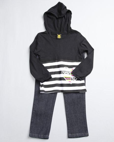 Mecca Girls Girls Black 2 Piece Top W/ Jeans (2T-4T)
