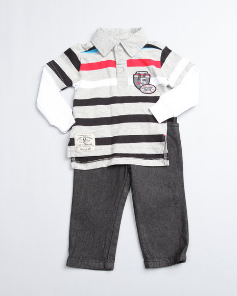 Mecca Boys Light Grey 2 Piece Top N Jean (Newborn)