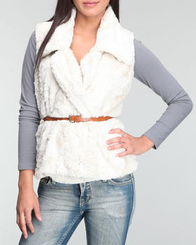 Basic Essentials - Faux fur vest w/belt