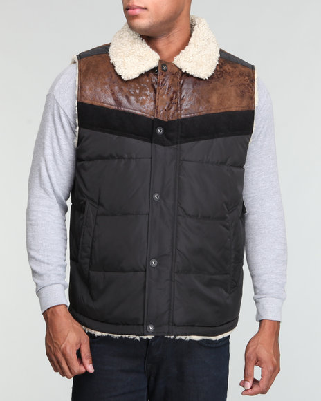 Sean John Men Brown Sherpa Vest