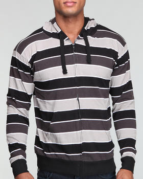 Basic Essentials - Full Zip Stripe Jersey Hoodie