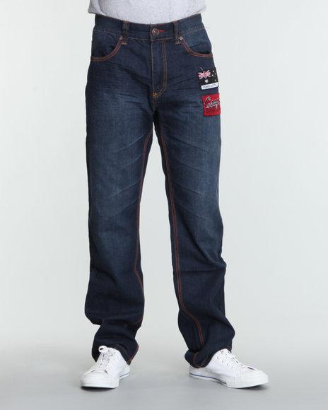 COOGI Men Dark Wash Buffalo Australian Flag Denim Jeans