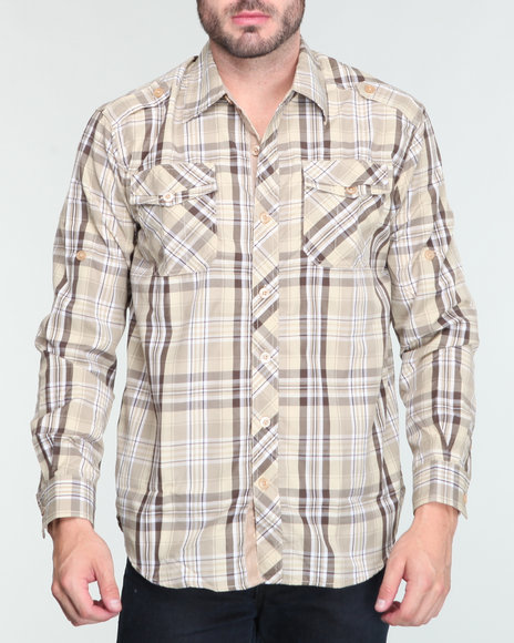 hensworth l/s plaid shirt
