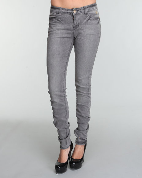 Apple Bottoms Women Grey Logo Pocket Bling Trim Skinny Jean