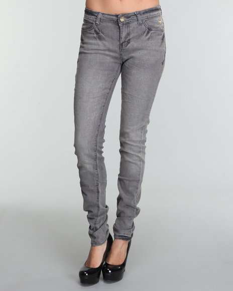 Apple Bottoms Women Grey Ab Heart Logo Skinny Jean