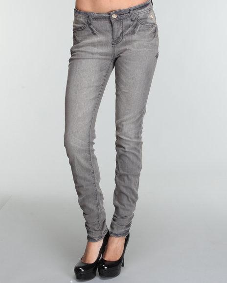 Apple Bottoms Women Grey Ab Logo Pocket Skinny Jean