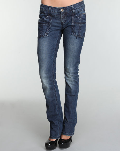 M.O.D. Women Dark Wash Constanza Engineer Pocket Straight Fit Jean