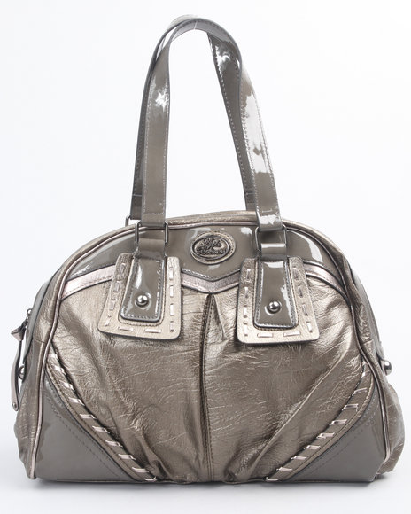 metallic whip stitch satchel