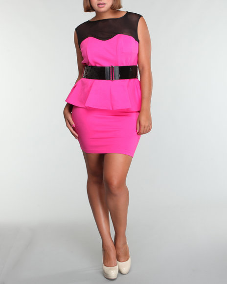 belted peplum dress (plus)