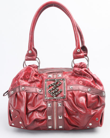 rouched zipper trim signature satchel