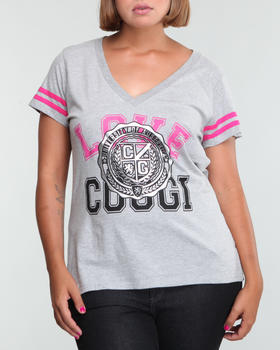COOGI - V-Neck love coogi tee w/flocking (PLUS)